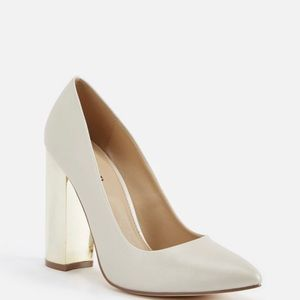 NEW JUST FAB Pearl Shoe W/ Gold Heels